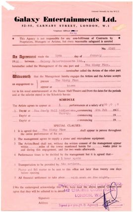 A performance contract issued by Galaxy Entertainments Ltd. on January 19th, 1966 for the...