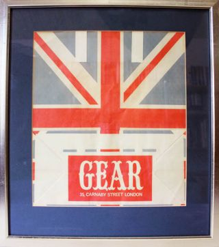 An original paper carrier bag from Gear, Tom Salter's Carnaby Street boutique, featuring a Union...