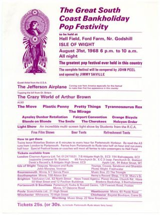 "Original handbill designed by David Fairbrother-Roe announcing ""The Great South Coast Bankholiday..."