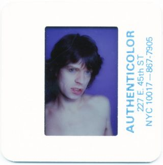 Three 'Authenticolor' 35mm. slides of Mick Jagger taken by Marcia Resnick in her studio in New...