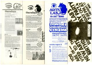 Three programmes printing descriptive listings of upcoming film screenings at the New Arts Lab,...