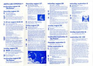 "Three programmes printing descriptive listings of upcoming film screenings at the New Arts Lab, ""London's Underground Cinema"", May 28th-September 20th (1970)."