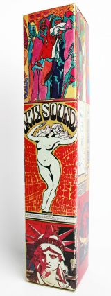 A large box of matches decorated with images of psychedelic San Francisco concert posters,...