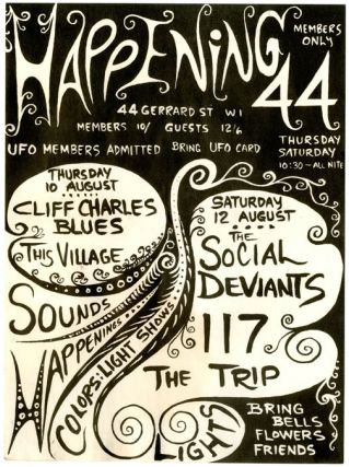 Original handbill announcing The Social Deviants at Happening 44, London, August 12th (1967), The...