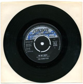 "An original UK 7"" single release of The Ronettes' 'Be My Baby', signed by Ronnie Spector in blue..."