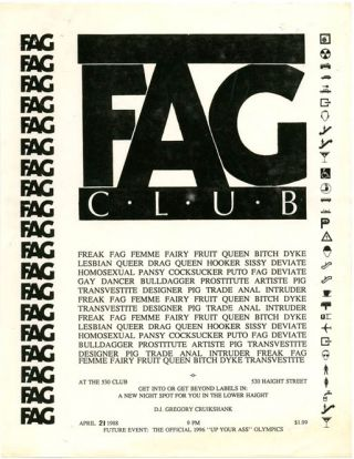 A collection of posters, handbills, buttons and other ephemera from the gay male leather subculture in San Francisco and other major American cities, ranging from the 1960s through to the early 1990s, and encompassing the post-Stonewall, pre-AIDs era, regarded as the 'Golden Age' of leather bars.