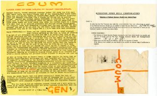 A small but fabulous collection of letters, posters, photographs, flyers, cards, mail art, collage material and COUM stickers, originally sent in the mail by Genesis P-Orridge to Lesley Allen between 1972 and 1973, together with a letter to her dating from May 1976 announcing the formation of Throbbing Gristle. Lesley Allen was Vice-President of the COUM Van Glub of North America, and a friend of Charmian Ledner, President of COUM V.G.N.A., both of whom met P-Orridge on their visit to London in May 1972.