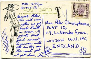 "An original mail art postcard by Genesis P-Orridge, written and addressed to Peter Christopherson, dated ""Mon 12.35pm"" (17th February) ""© 1975""."