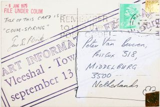 An original mail art postcard by Genesis P-Orridge, addressed to Peter van Beveren, dated 6th June, 1975 and postmarked 'Hackney 9th June 1975'.