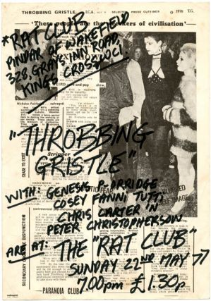 Original handwritten flyer announcing Throbbing Gristle at the Rat Club, Pindar of Wakefield Pub,...