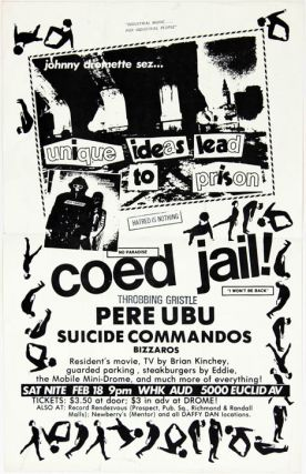 Original poster announcing a concert by Pere Ubu and The Suicide Commandos at the WHK Auditorium...