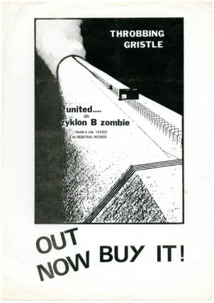 Original flyer announcing the release of Throbbing Gristle's first single, 'United'/'Zyklon B...