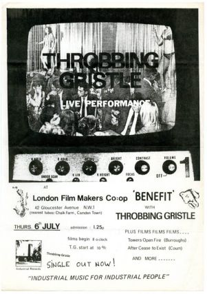 Original flyer announcing a performance by Throbbing Gristle at the London Film-Makers' Co-op,...