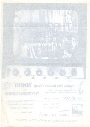 Original flyer announcing a performance by Throbbing Gristle at the London Film-Makers' Co-op, London, 6th July (1978).