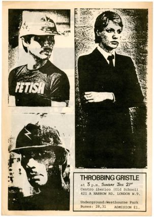 Original double-sider flyer announcing a performance by Throbbing Gristle at Centro Iberico,...