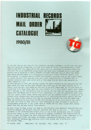 INDUSTRIAL RECORDS MAIL ORDER CATALOGUE 1980/81.