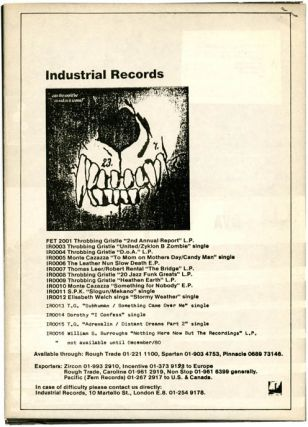 8pp. booklet printing images and lyrics, issued to accompany the original mail order-only cassette by Clock DVA, 'White Souls in Black Suits' (IRC 31), December 1980.