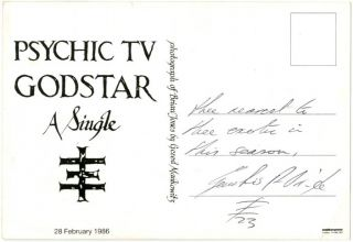 Promotional postcard for the 1985 PTV single, 'Godstar', reproducing a b/w photograph of Brian Jones by Gered Mankowitz.