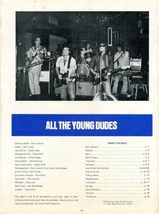 ALL THE YOUNG DUDES Vol. 1 #6 (stated, though only three issues were published).