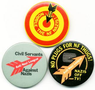 A group of three original ANL badges (c. late 1970s). ANTI-NAZI LEAGUE