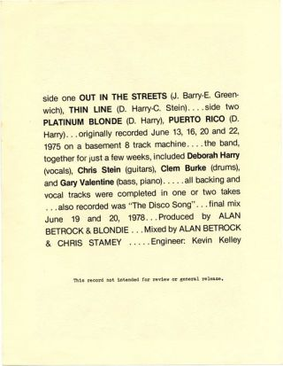 Printed sheet publicising Alan Betrock's unauthorised EP record of early Blondie demos from 1975, and one from 1978.