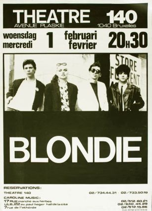 Original concert poster announcing Blondie at Theatre 140, Brussels, 1st February (1978). BLONDIE