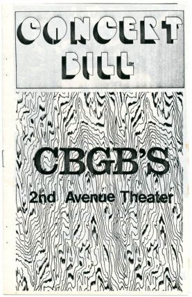 Original concert bill for CBGB's 2nd Avenue Theater, NYC, opened by Hilly Kristal in December...