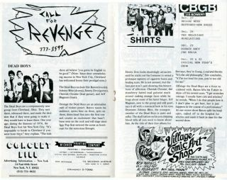 Original concert bill for CBGB's 2nd Avenue Theater, NYC, opened by Hilly Kristal in December 1977.