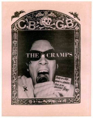 Original flyer announcing The Cramps' three-night residency at CBGB's, 12th-14th January (1978)....