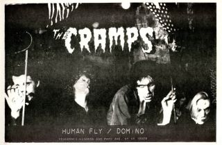 Original poster announcing The Cramps' debut single, 'Human Fly'/'Domino' (NY: Vengeance Records,...