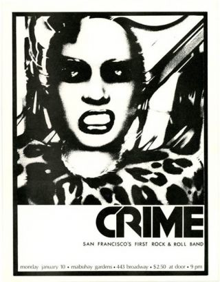 "Original handbill featuring a graphic of a snarling woman announcing Crime (""San Francisco's..."