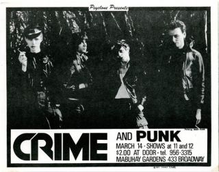 Original handbill designed by James Stark announcing Crime with Punk at the Mabuhay, SF, 14th...