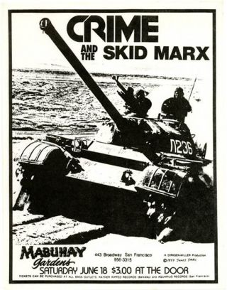 Original James Stark-designed handbill announcing Crime and The Skid Marx at the Mabuhay Gardens,...