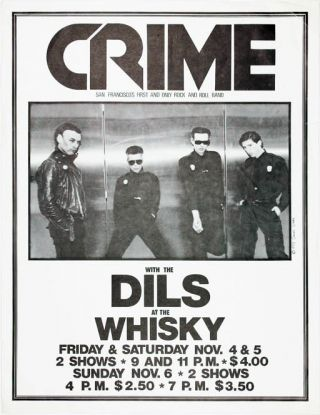 Original James Stark-designed poster announcing Crime with The Dils at the Whisky, LA, 4th-5th...