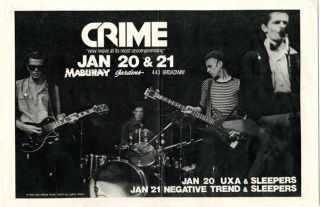 Original poster announcing Crime with UXA and The Sleepers (20th January) and Negative Trend and...