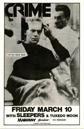 Original poster featuring Frankenstein photo-image announcing Crime with The Sleepers and...
