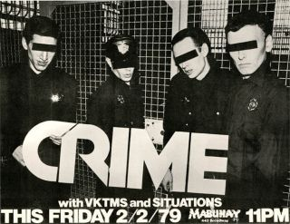 Original poster announcing Crime with Vktms and Situations at the Mabuhay, SF, 2nd February,...