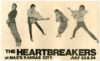 Original handbill announcing The Heartbreakers at Max's Kansas City, New York City, 23rd and 24th...