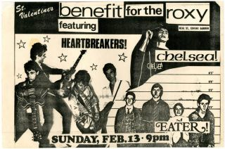 Original flyer announcing The Heartbreakers, Chelsea and Eater in a St. Valentine's benefit gig...