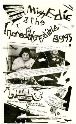 An original flyer announcing Miss Edie & The Incredible Edible Eggs at Nuart Theatre, West LA,...