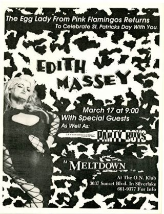 "An original flyer announcing ""The Egg Lady From Pink Flamingos Returns To Celebrate St. Patricks..."