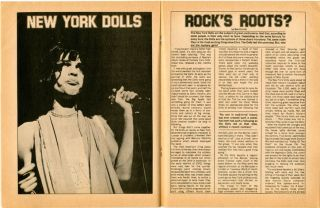 Lengthy 8pp. colour front cover photo-illustrated interview/feature on The New York Dolls in BEETLE Vol. 5, #5 (Toronto: December 1973) + BEETLE Vol. 5, #12 (Toronto: November 1974).