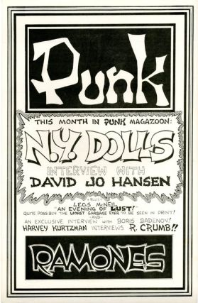 Original poster designed by John Holmstrom announcing the latest issue of 'Punk Magazoon' (May...
