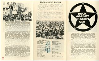 A leaflet issued by RAR USA in 1979, one of several international off-shoots from the original...