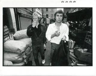 Original Ray Stevenson photograph of the Sex Pistols in London (possibly Berwick Street market,...