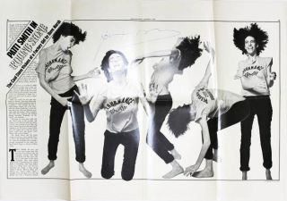 An original poster reprinting pages 40-41 from Rolling Stone magazine (1st January, 1976), signed...