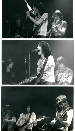 A group of 10 original 10x8 b/w photographs taken by David Arnoff of Patti Smith in performance at The Roxy, Sunset Blvd., Los Angeles, 30th January, 1976.