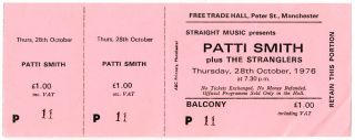 An unused ticket for a Patti Smith concert at the Free Trade Hall, Manchester, 28th October,...