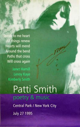 "Original poster announcing Patti Smith ""poetry & music"" in Central Park, New York, 27th July,..."