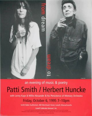 "Original poster announcing ""an evening of music & poetry Patti Smith/Herbert Huncke with Lenny..."